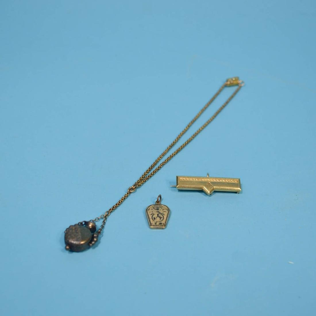 Great Victorian Lot Of 10-14K Gold (Pendant, Pin & Fob)