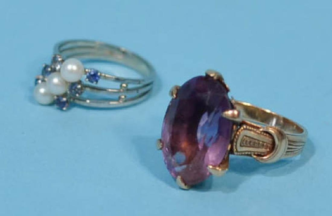 2  Lovely 14k Gold Antique Rings (Sapphire, Amethyst)
