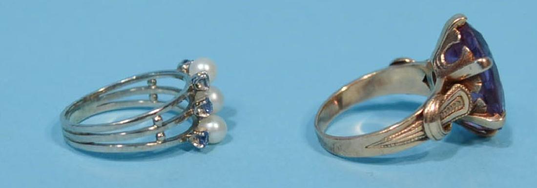 2  Lovely 14k Gold Antique Rings (Sapphire, Amethyst) - 2