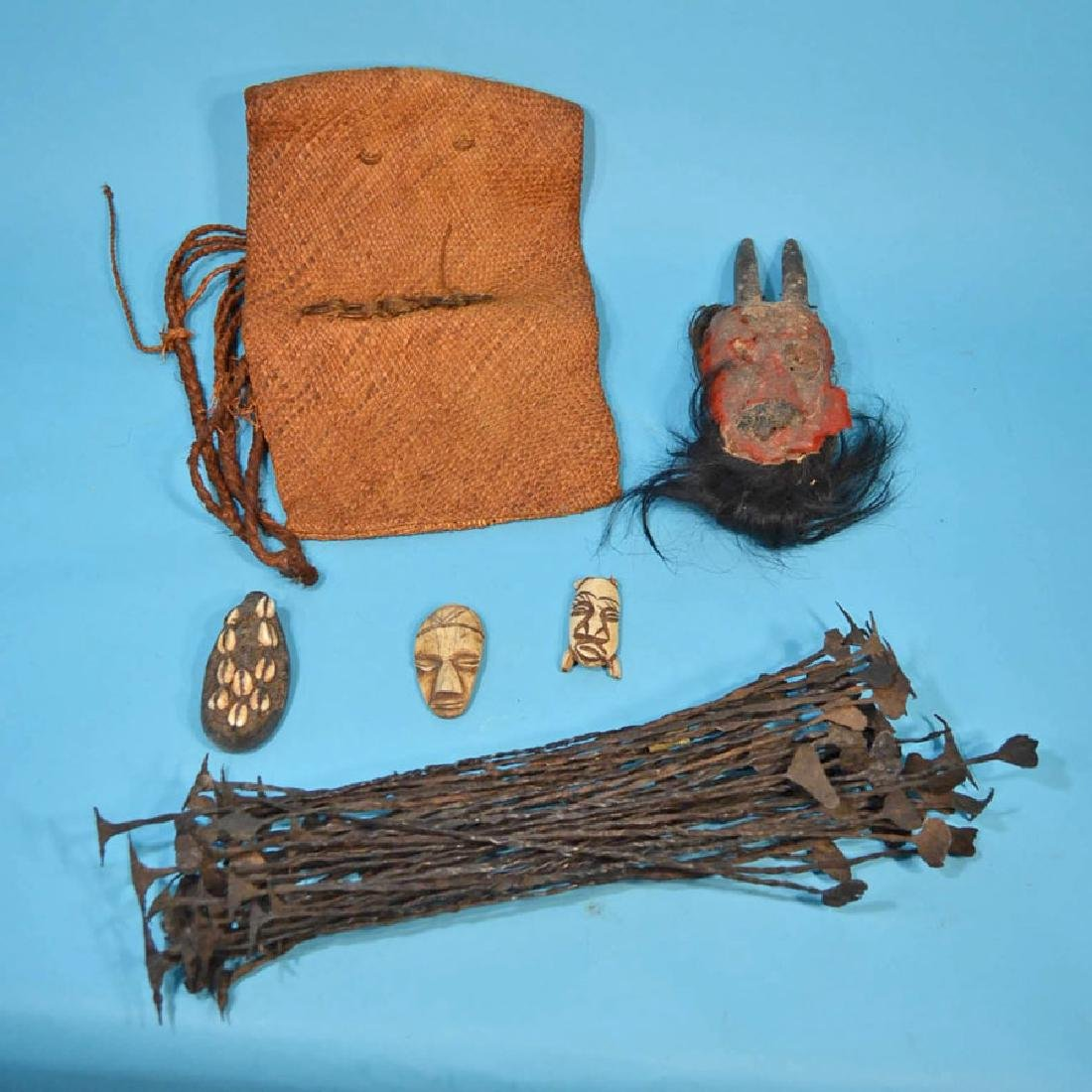 Africa Lot: Masks, Liberia Kissi Pennies, Bag