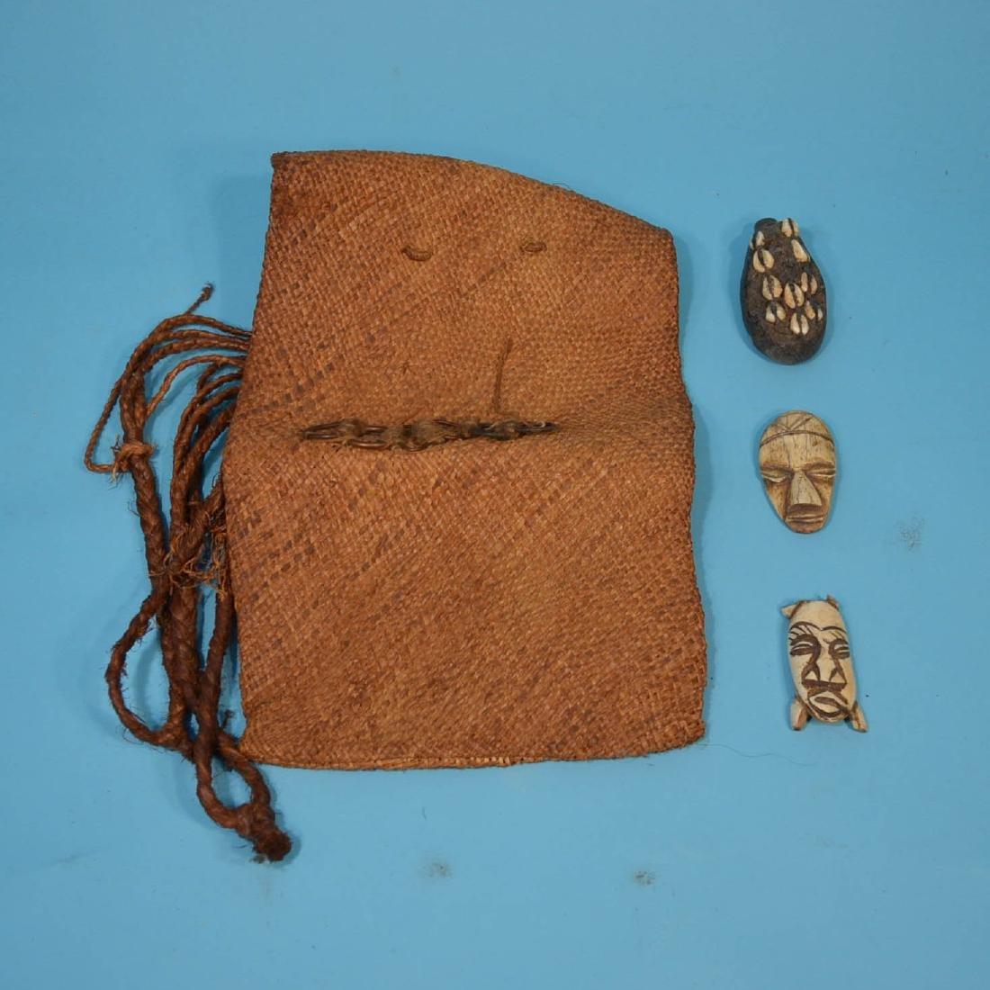 Africa Lot: Masks, Liberia Kissi Pennies, Bag - 2