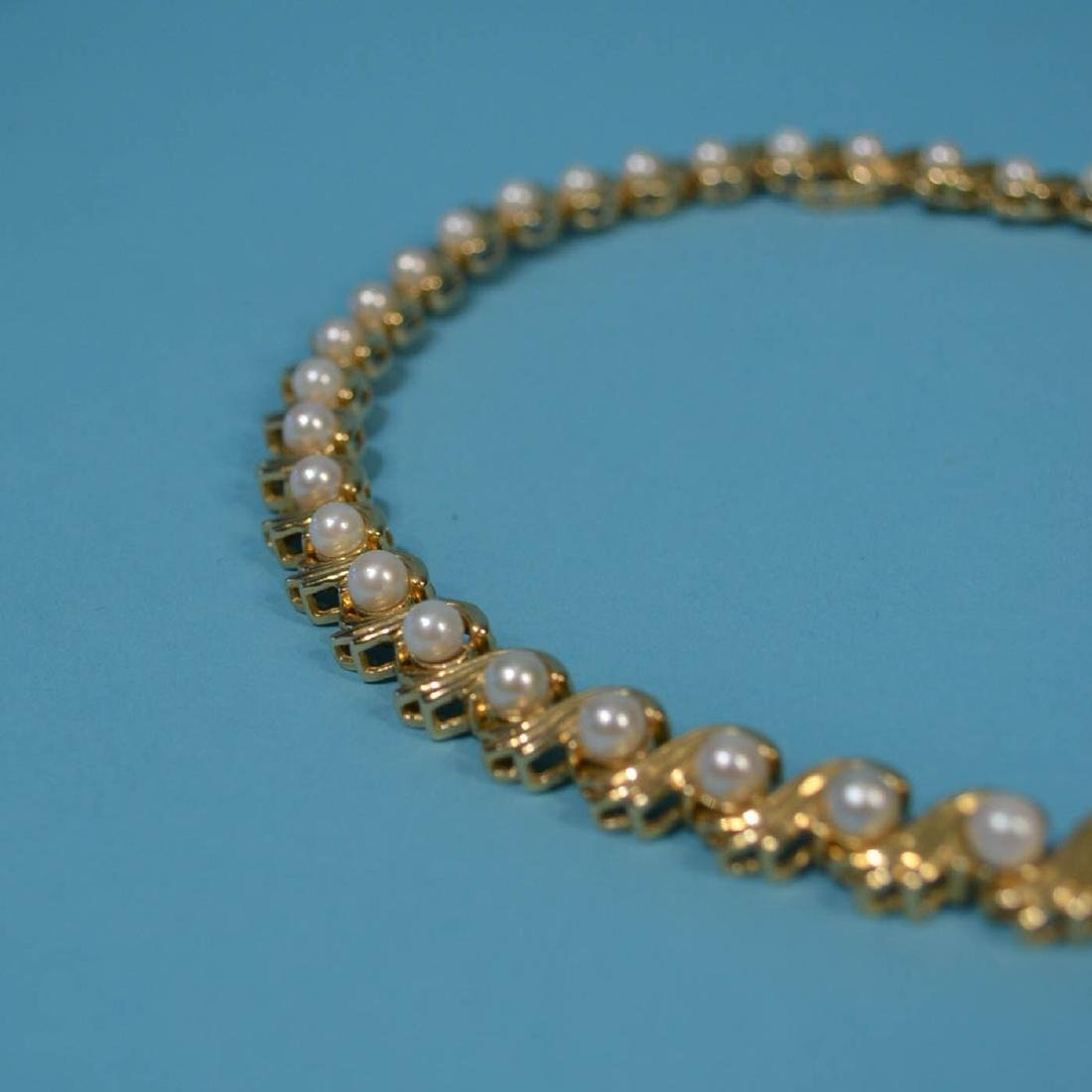 Truly Striking 14k Gold & Pearl Choker  Necklace - 2