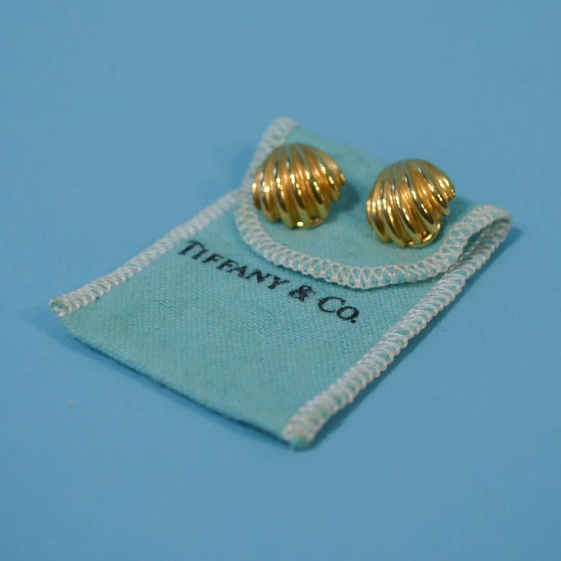 Pr of Tiffany & Co 18K Gold Shell Form Earrings