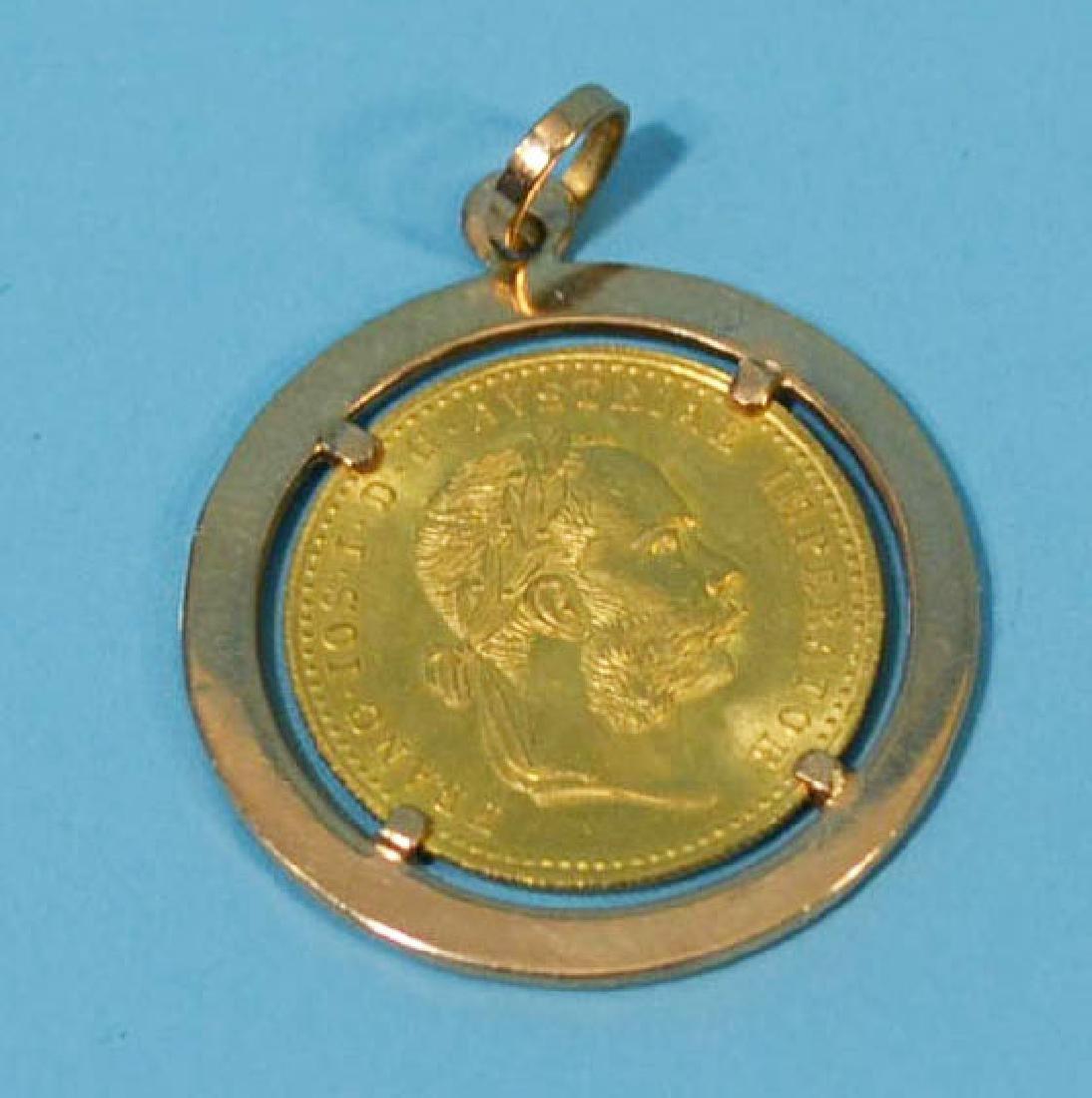 1915 AUSTRIAN 1 DUCAT GOLD COIN PENDENT