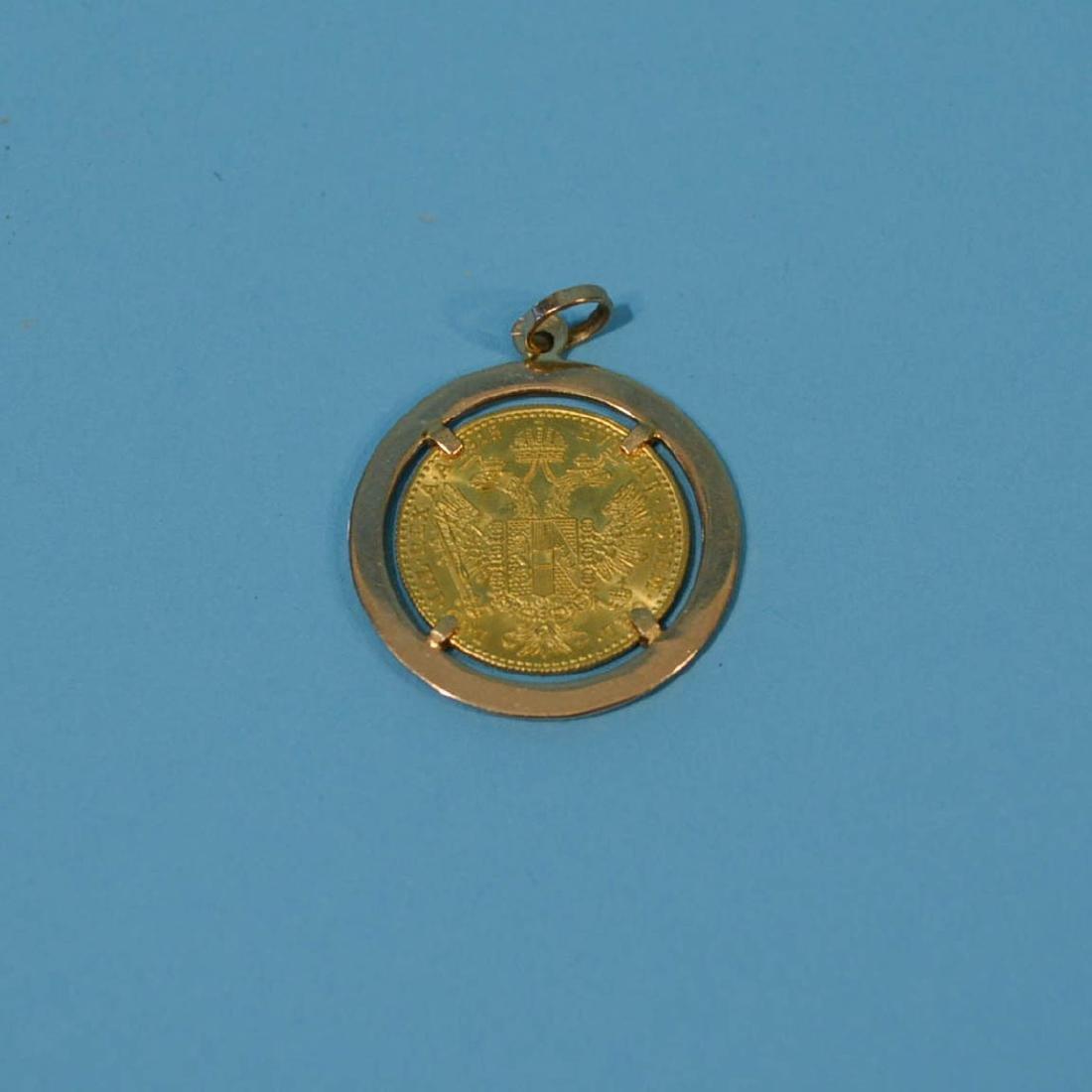 1915 AUSTRIAN 1 DUCAT GOLD COIN PENDENT - 2