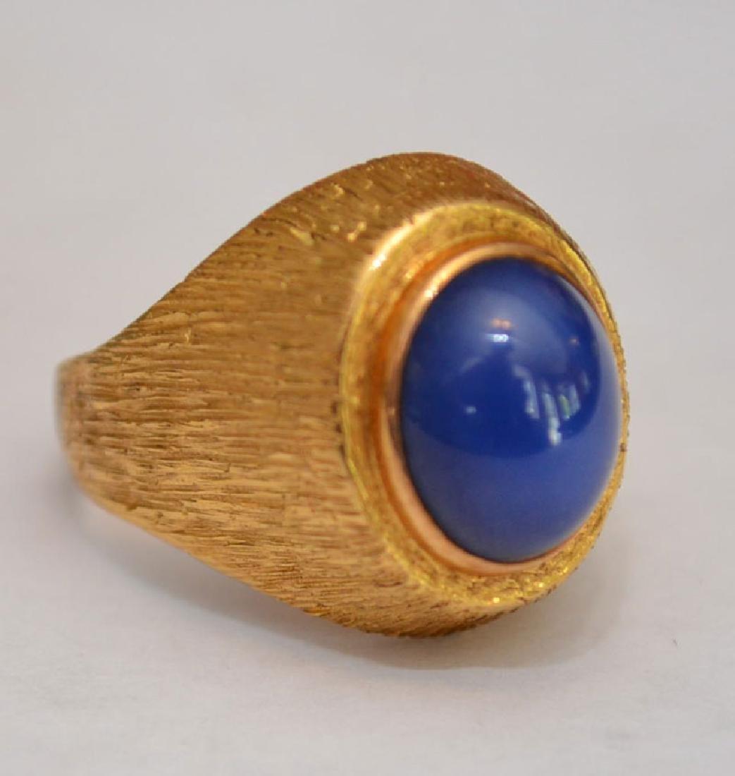 Men's Fabulous 18K Gold Star Sapphire Ring
