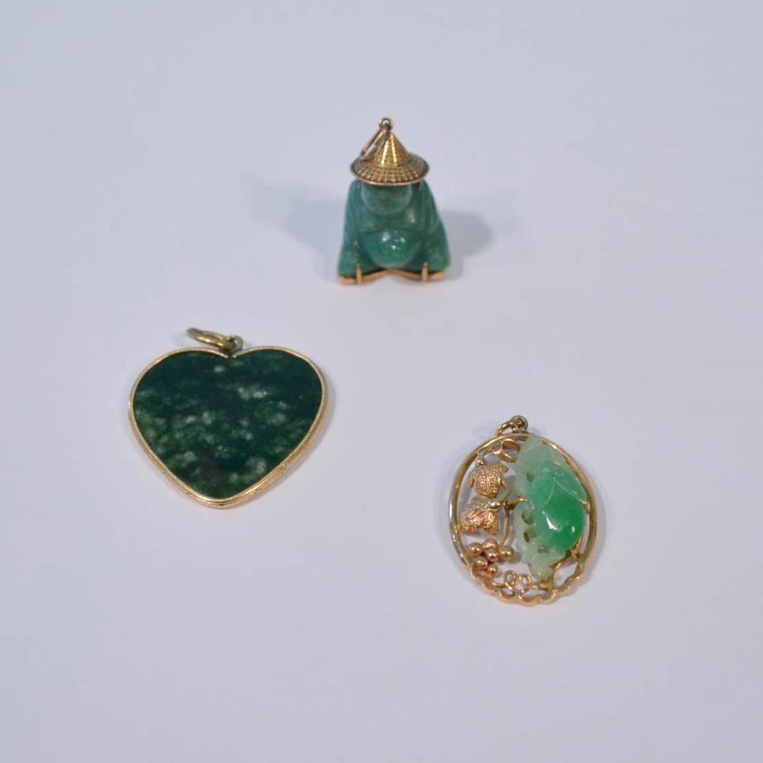Three 14k Gold & Jade Pendants