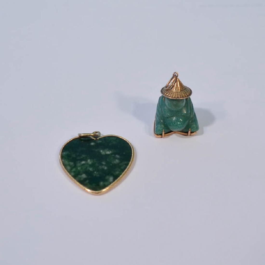 Three 14k Gold & Jade Pendants - 3