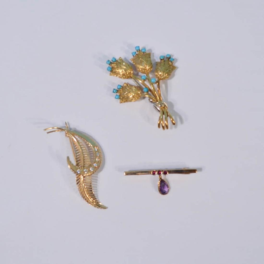 A Charming Group  Of 3 14K Gold Pins (Diamond,