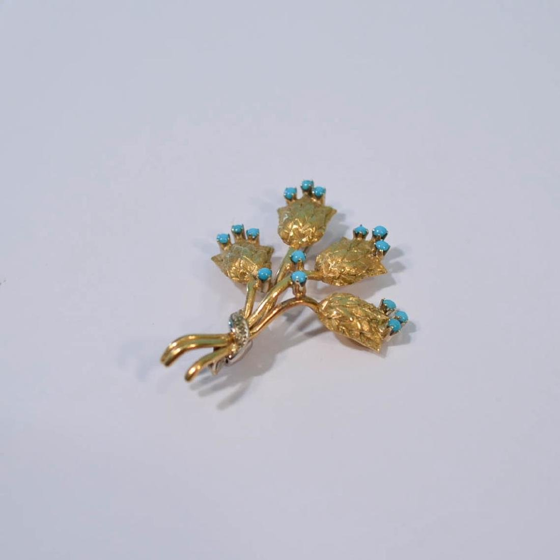 A Charming Group  Of 3 14K Gold Pins (Diamond, - 3