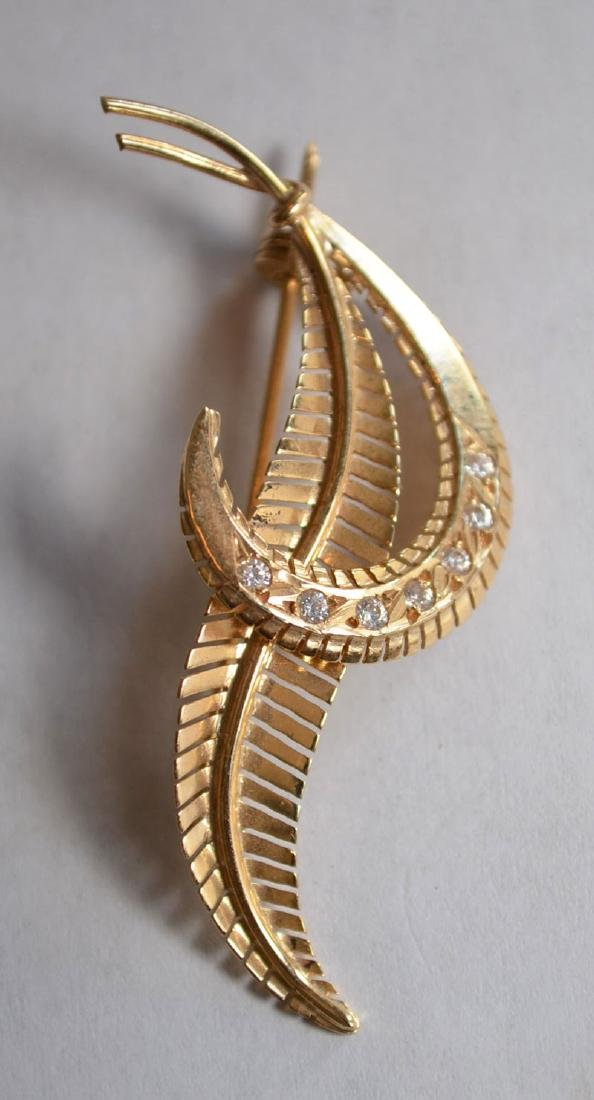 A Charming Group  Of 3 14K Gold Pins (Diamond, - 7