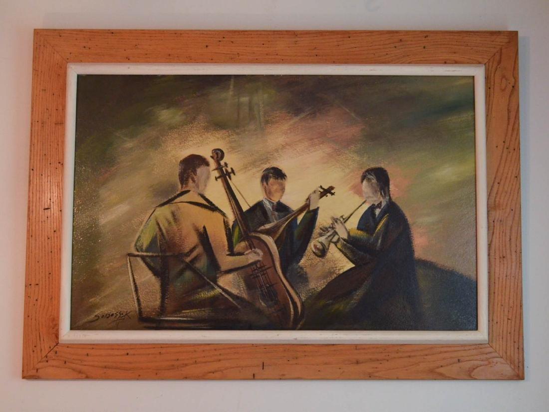 Wonderful O/B Painting of a Jazz Band Signed Sobossek