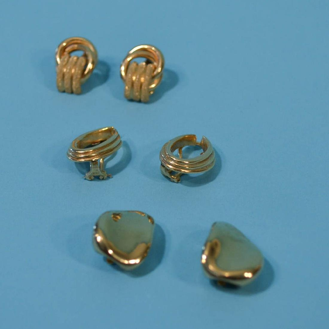 3 Pairs of Classic 14k Gold Earrings