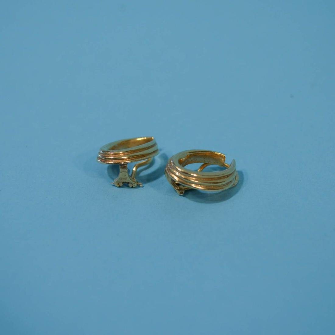 3 Pairs of Classic 14k Gold Earrings - 3