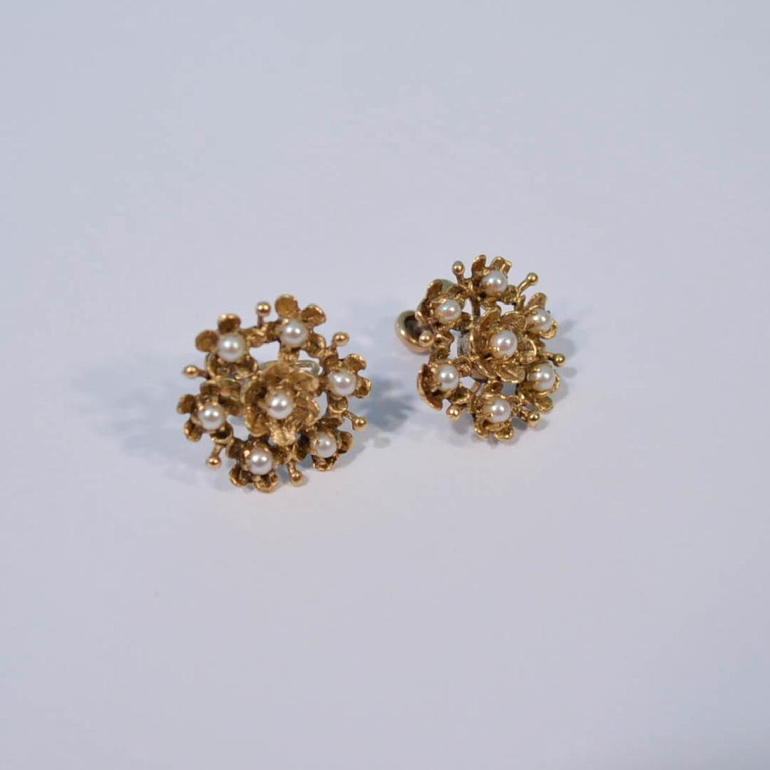 14k Gold & Pearl Earrings with Matching Ring - 2