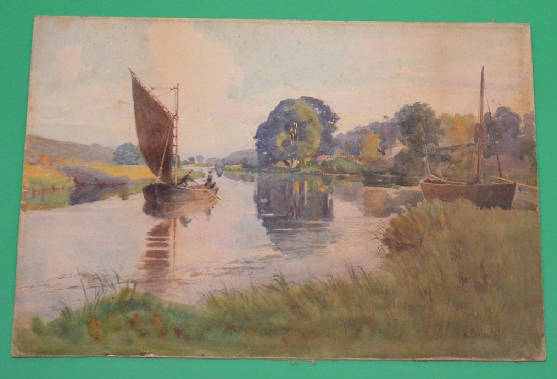 James Poole Addey Irish River Watercolor Painting