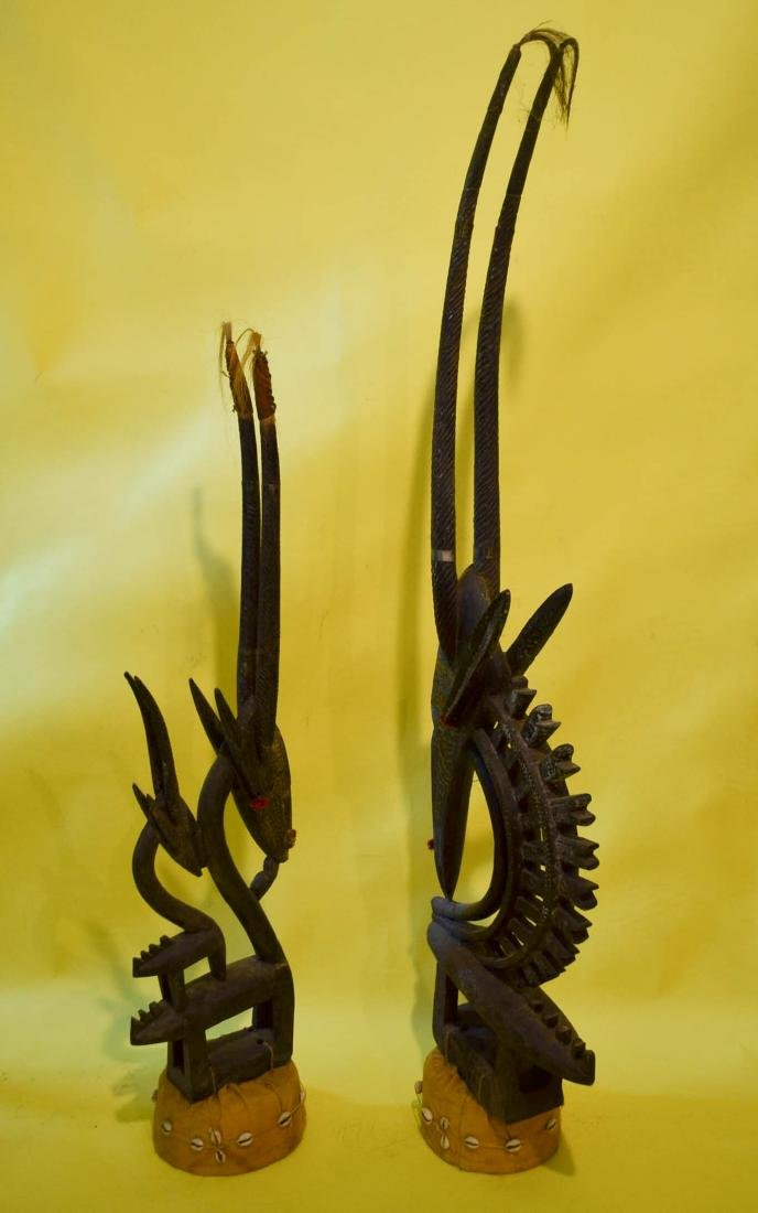 African Giselle Ornately Carved Headdresses - 2