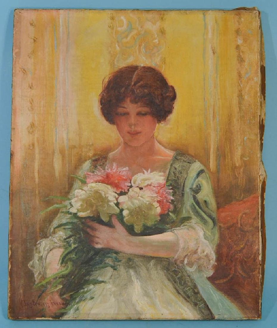 Signed Brown Art Nouveau Portrait of a Woman