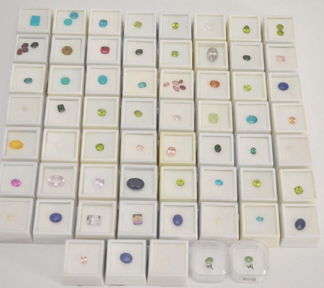 Large Group of Gemstones Lapis, Chalcedony, Morganite