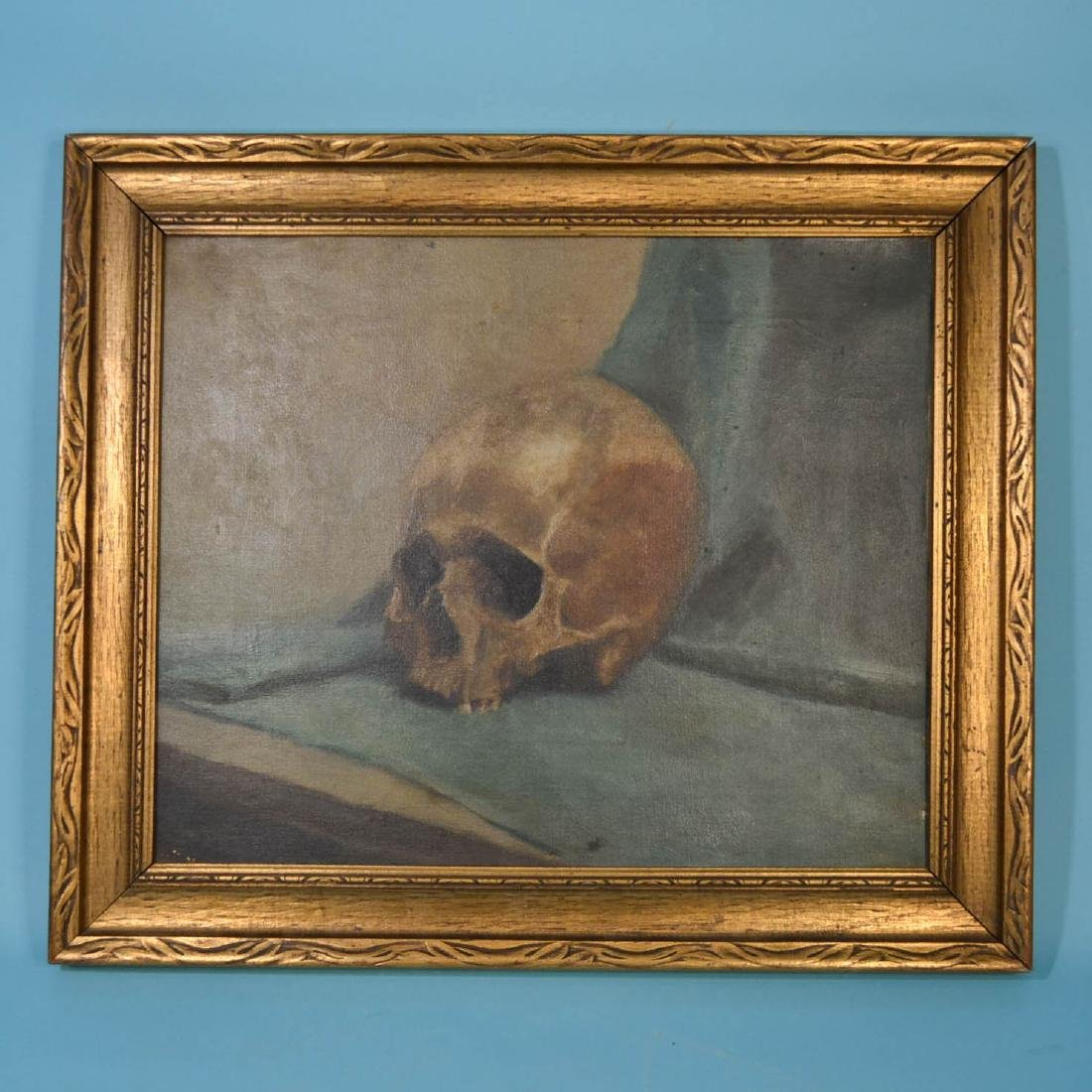 Unsigned Vintage  O/C Of A Human Skull