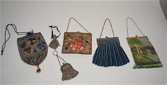 6 Vintage Beaded and Silver Purses /Bags