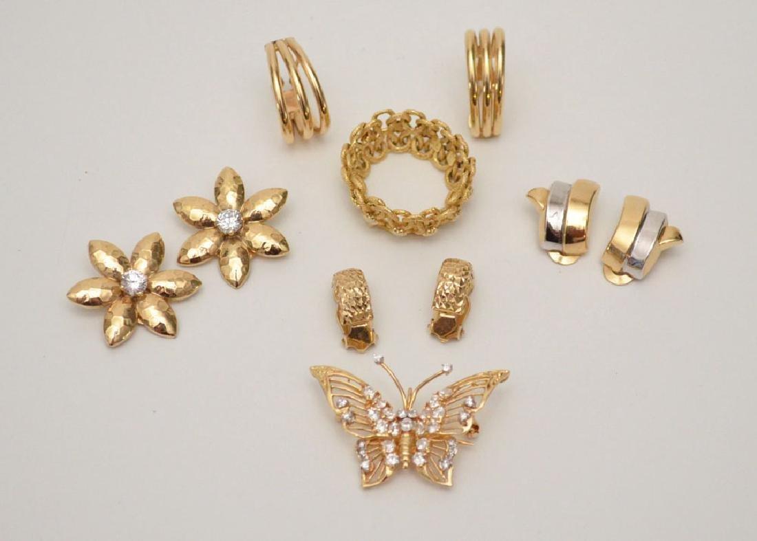 Lot of 14k Jewelry (Earrings, Pins, Ring)