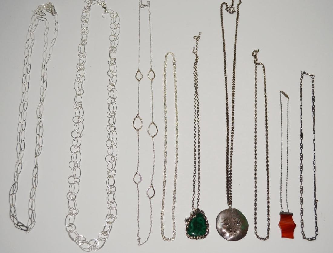 Generous Lot of Sterling Necklaces & Chains