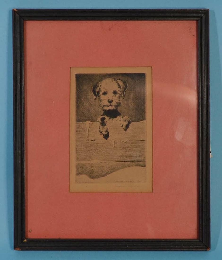 Morgan Dennis Signed 1926 Etching of a Dog