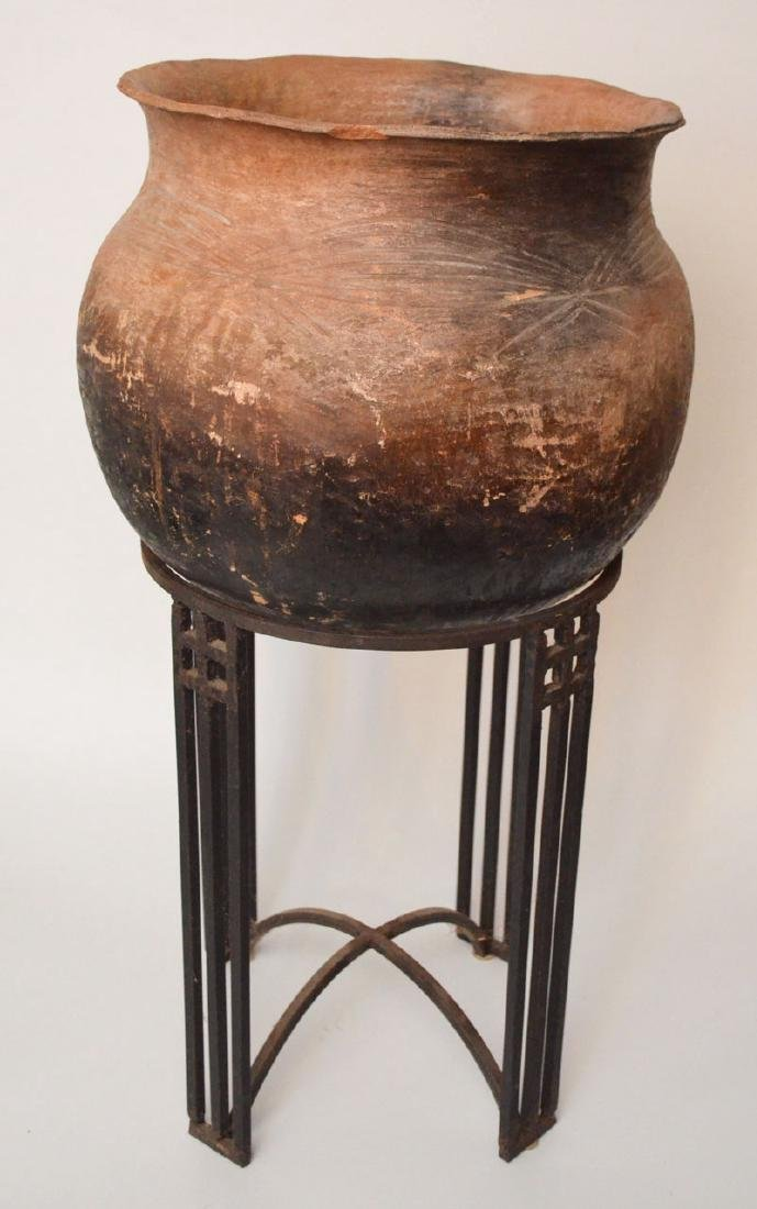 Early Monumental African Clay  Pot  On Stand