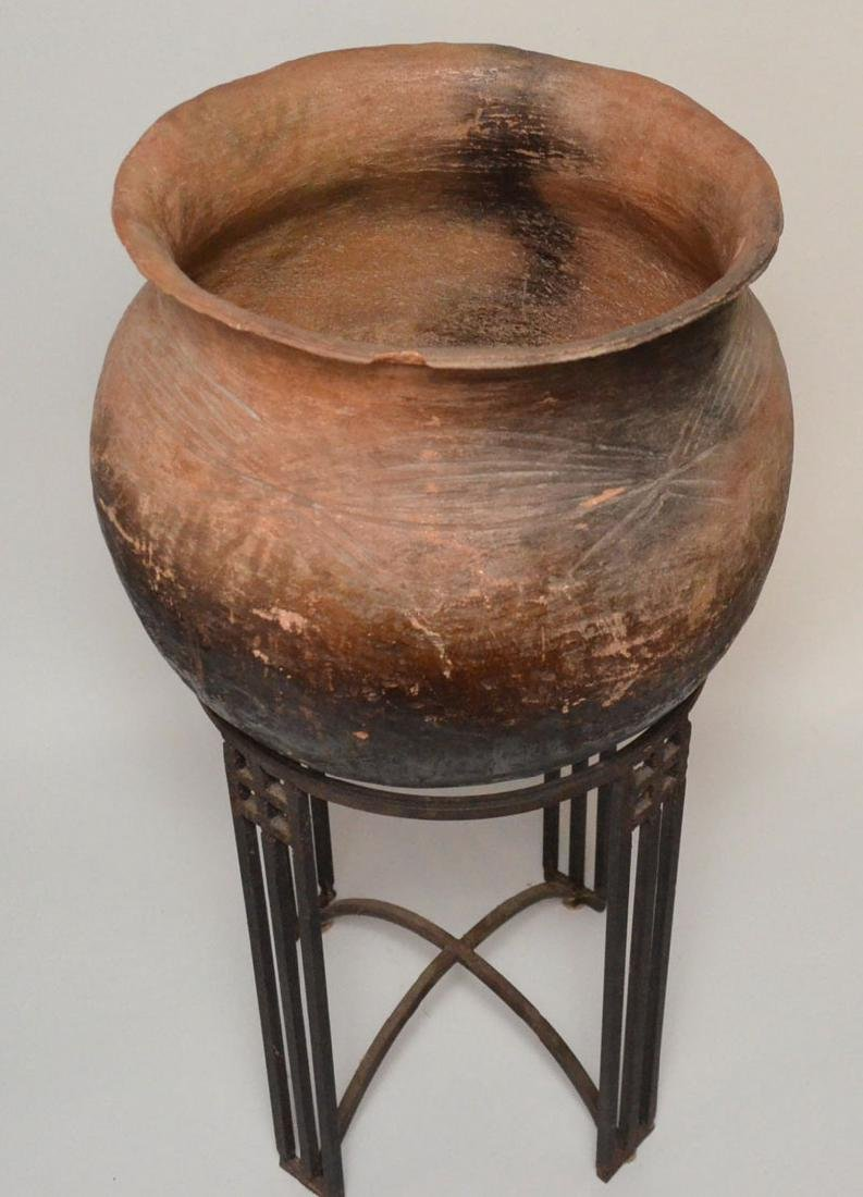 Early Monumental African Clay  Pot  On Stand - 2