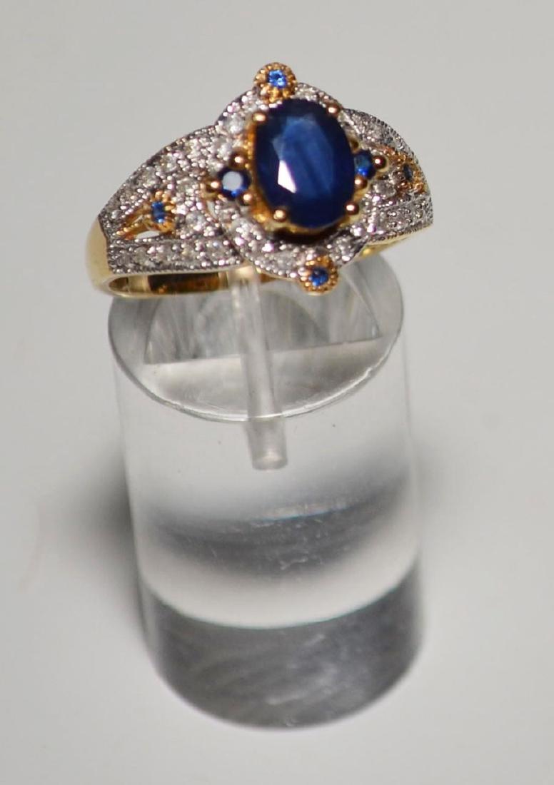 18k Gold Diamond & Sapphire Ring