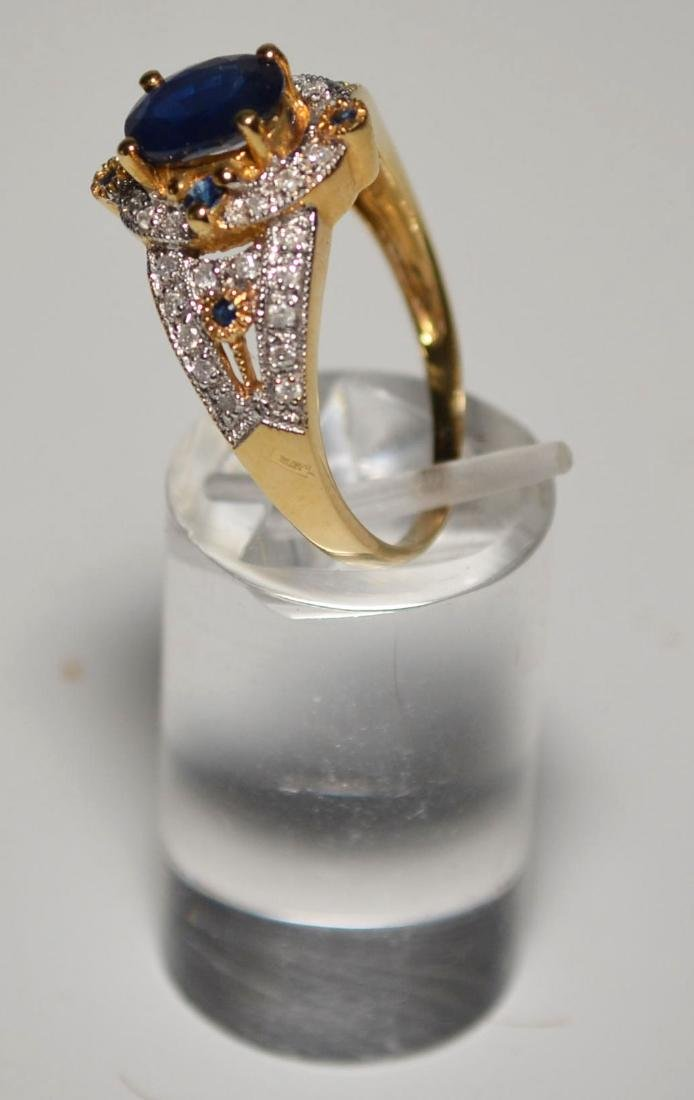 18k Gold Diamond & Sapphire Ring - 2