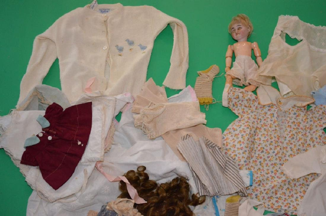 Miniature Antique Doll And Various  Doll Clothes - 2