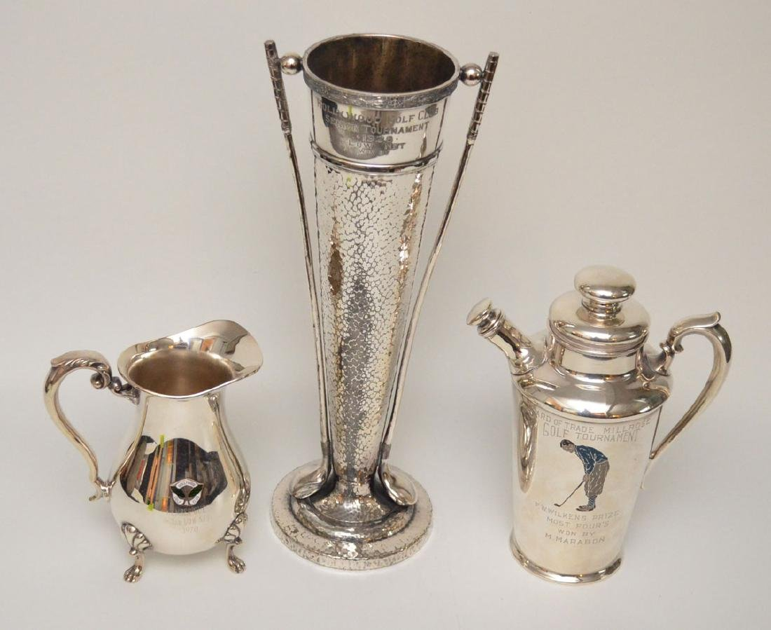 3 Antique Silver Plate Golf Trophies