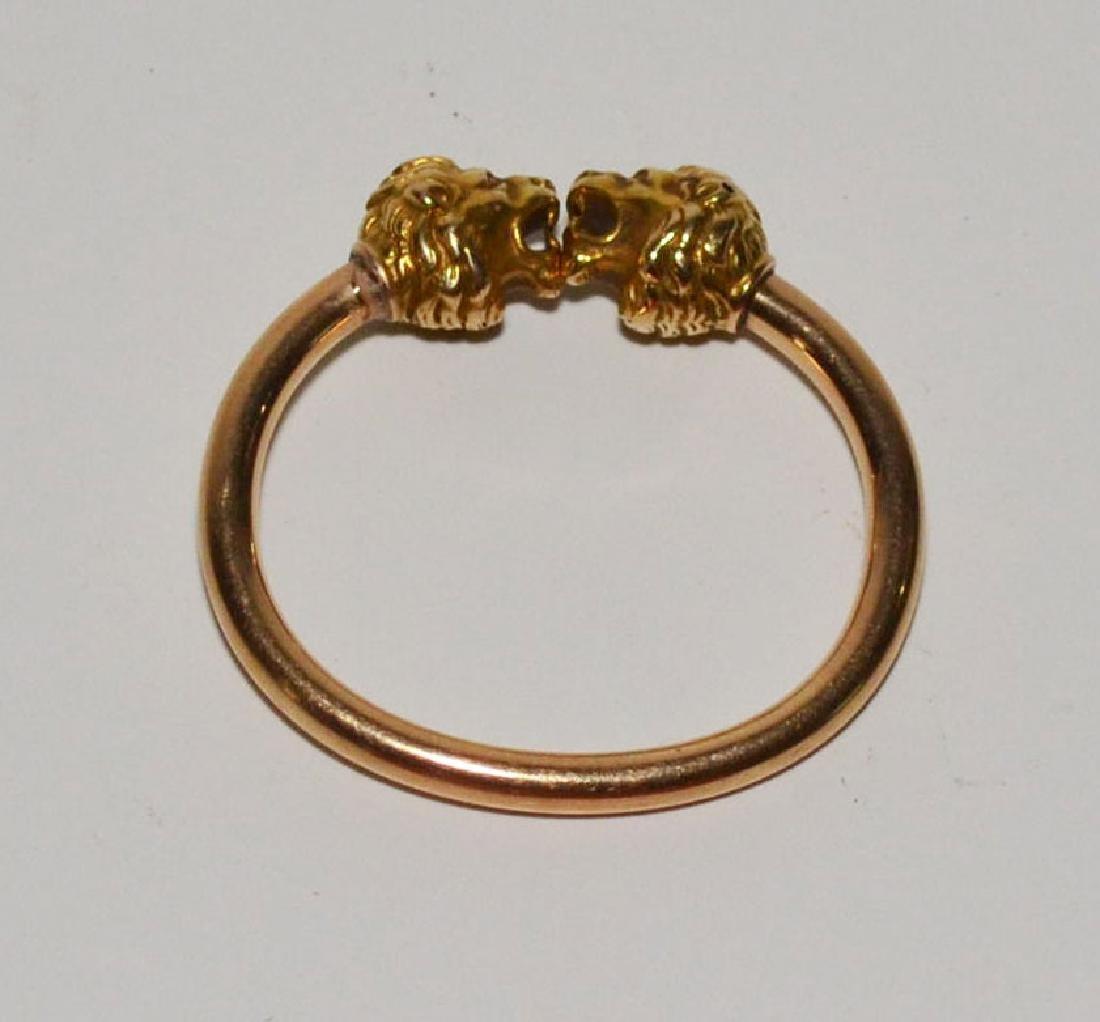 Unusual Vintage 14K Gold Bracelet With Figural Lions