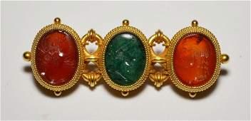 k Gold Byzantine Style Pin With Jade & Carnelian