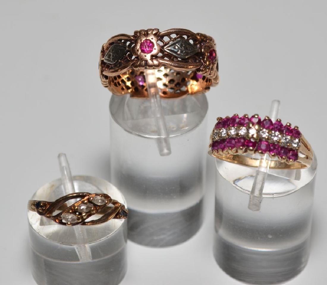 Three 14k Gold, Diamond & Sapphire Rings