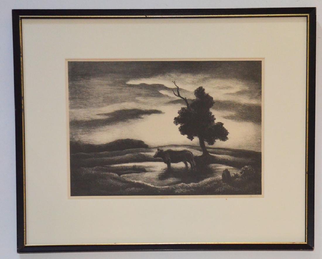 """Thomas Hart Benton  Pencil Signed Litho """" Sunset"""""""