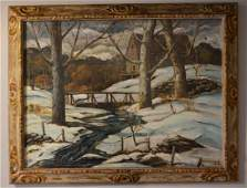 O/C Painting Of A Country side Signed Hilliard Smith