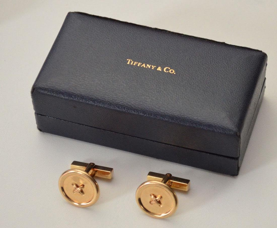 Tiffany & Co. 14k Gold Cufflinks In Original Box