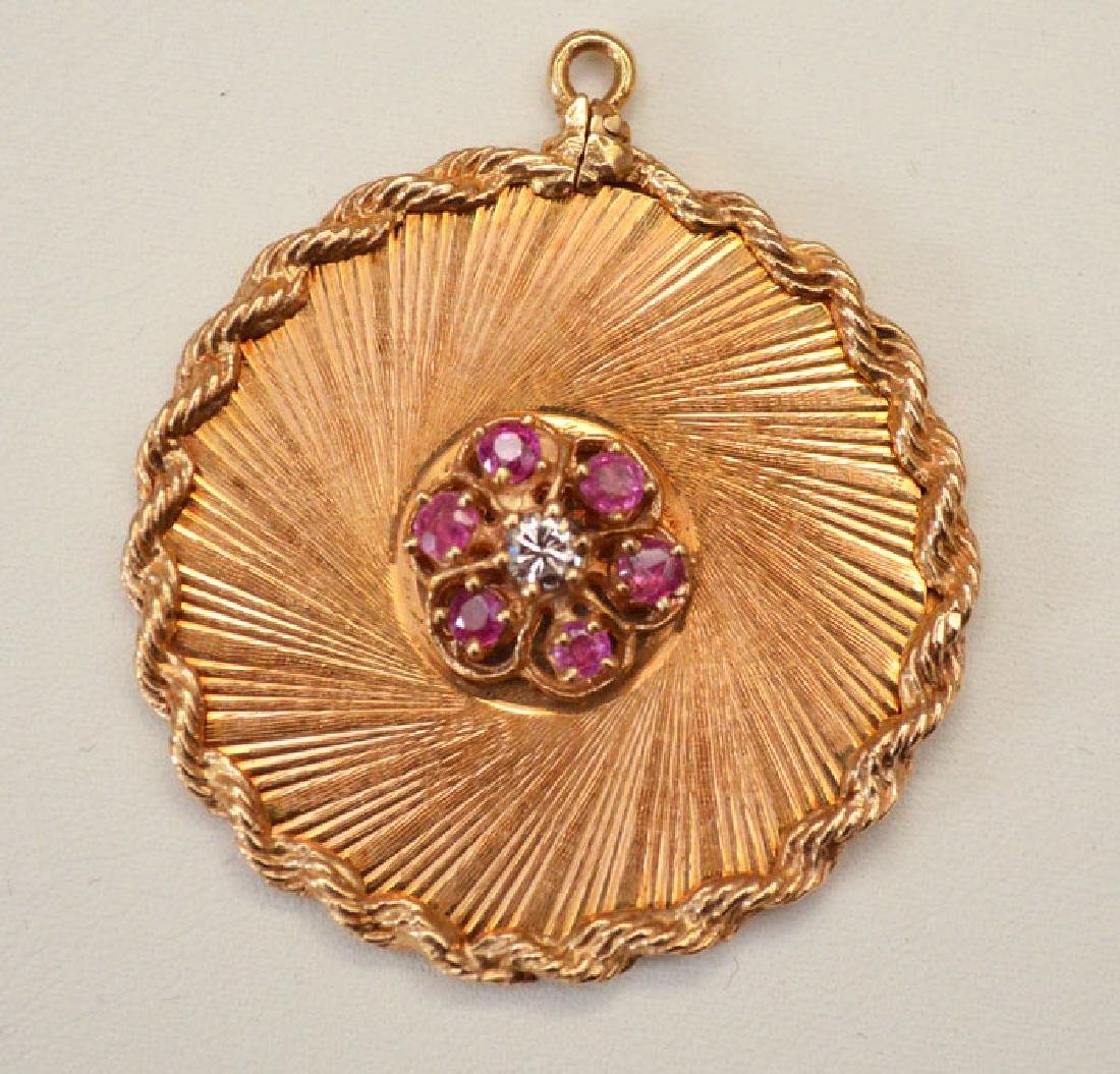 Stunning 14k Gold Diamond and Ruby Pendant