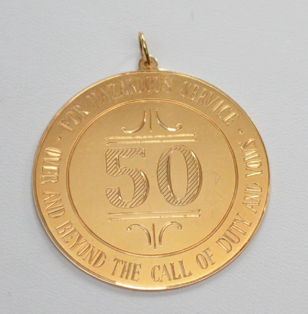 """14K Gold Pendant """" Way Beyond The Call Of Duty"""""""