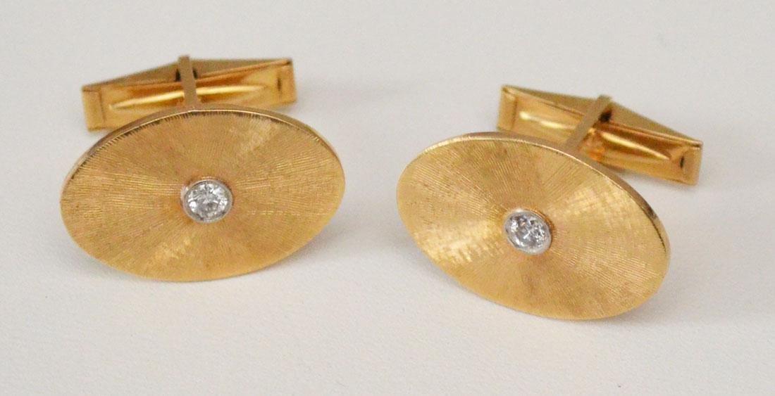 Elegant 14k Gold & Diamond Oval Cufflinks