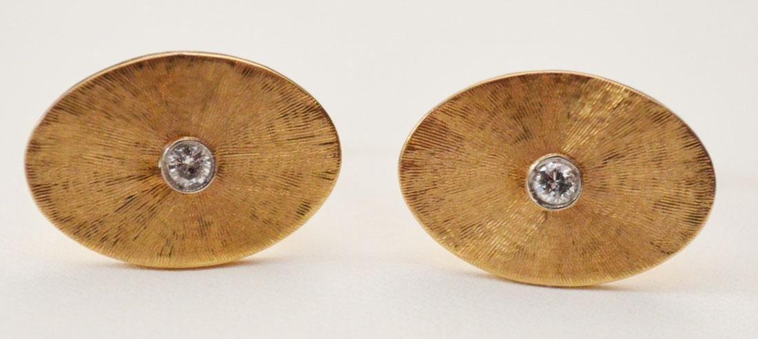 Elegant 14k Gold & Diamond Oval Cufflinks - 2