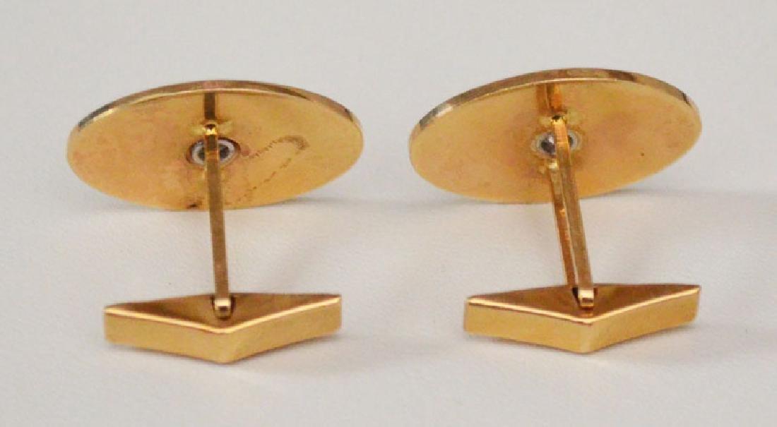 Elegant 14k Gold & Diamond Oval Cufflinks - 3