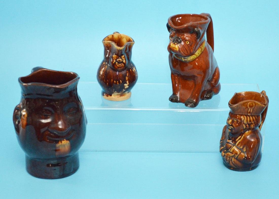 4 Bennington Figural Mugs & Face Pitcher