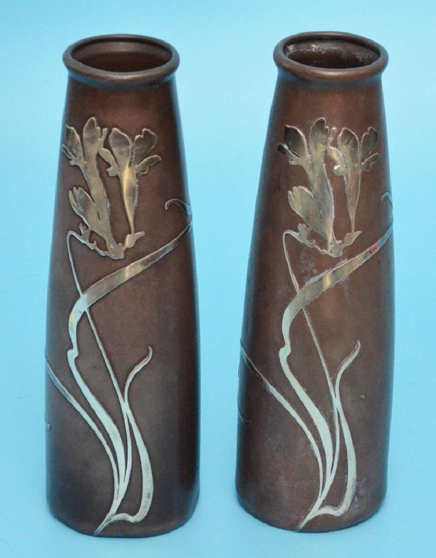 Pr Of Silver Crest Arts & Crafts Sterling & Bronze