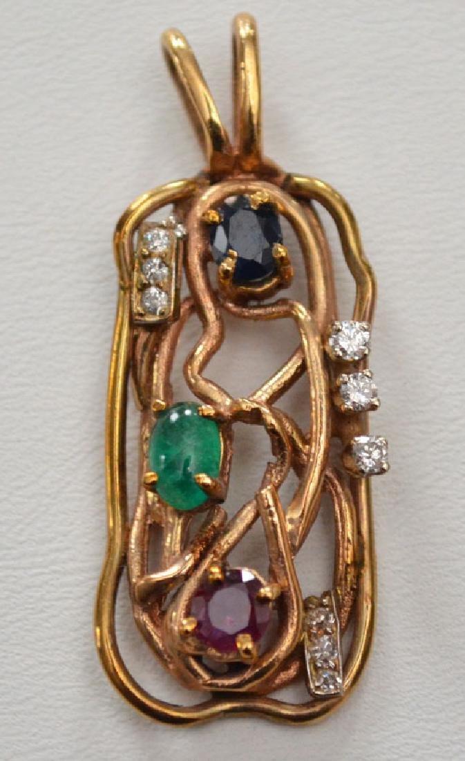 2 Mid Century 14k Gold Multi Stone Pendants - 2