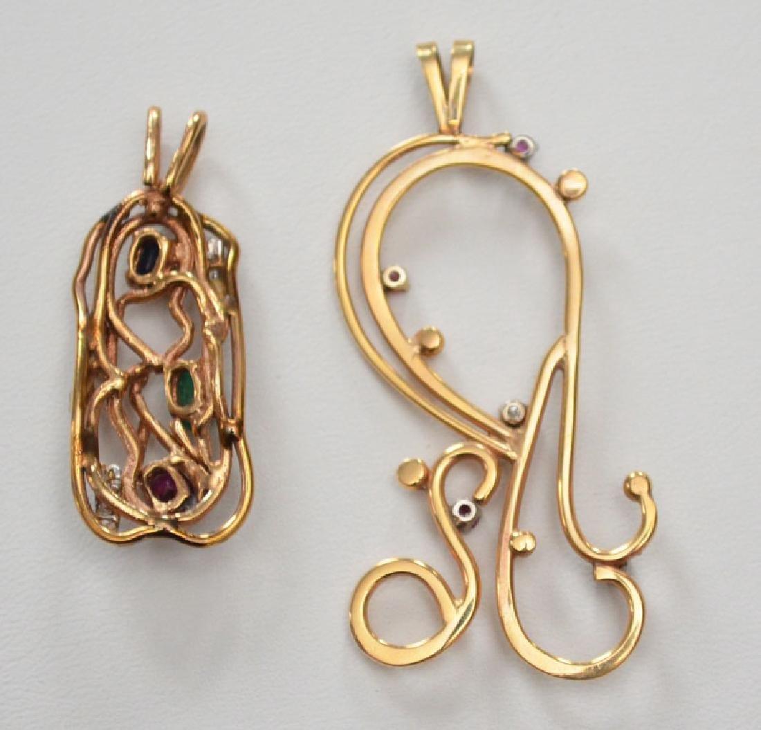 2 Mid Century 14k Gold Multi Stone Pendants - 4