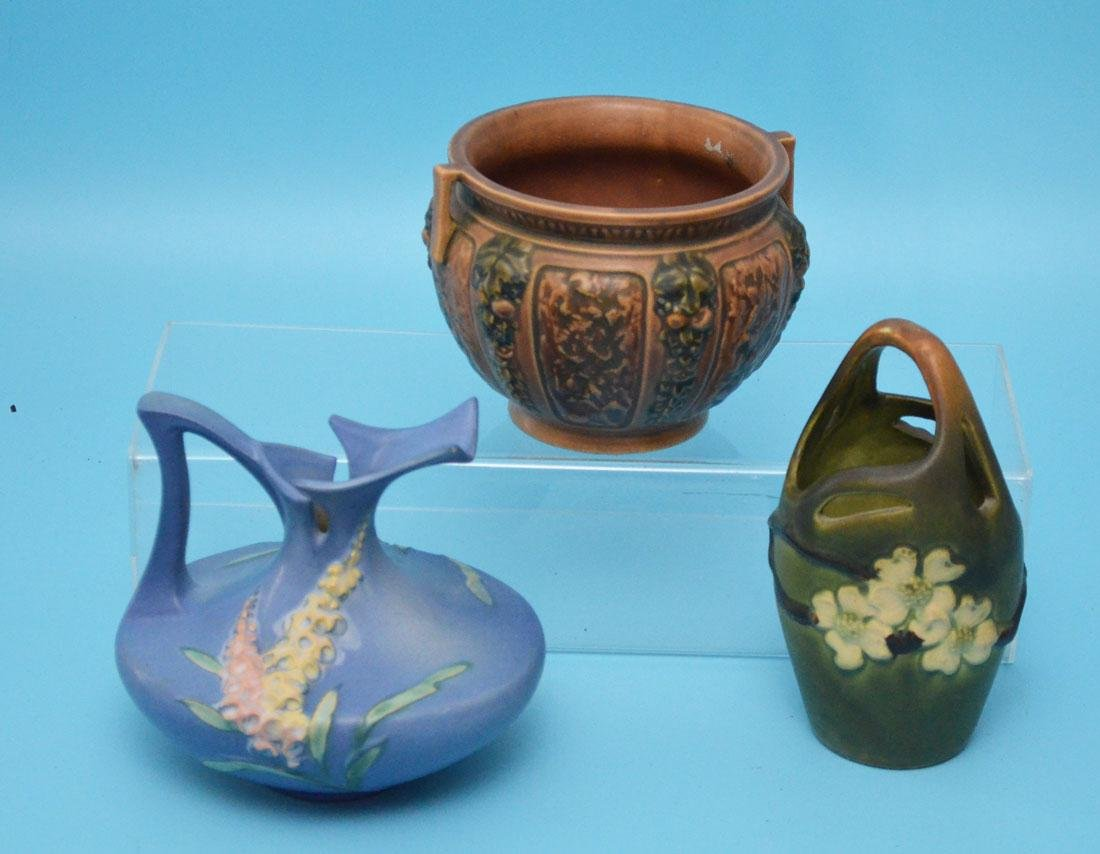 3 Pieces Of Vintage Roseville Pottery